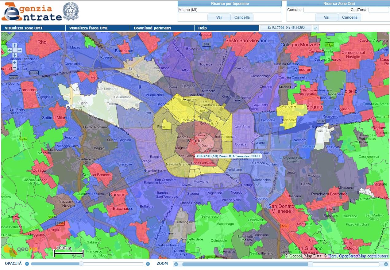 mappa GEOPOI Milano Agenzia Entrate